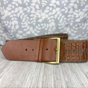 Accessories - Large Wide Faux Brown Leather Woven Belt